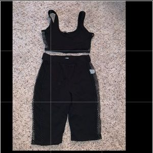 Fashion Nova Black Mesh Two Piece Set
